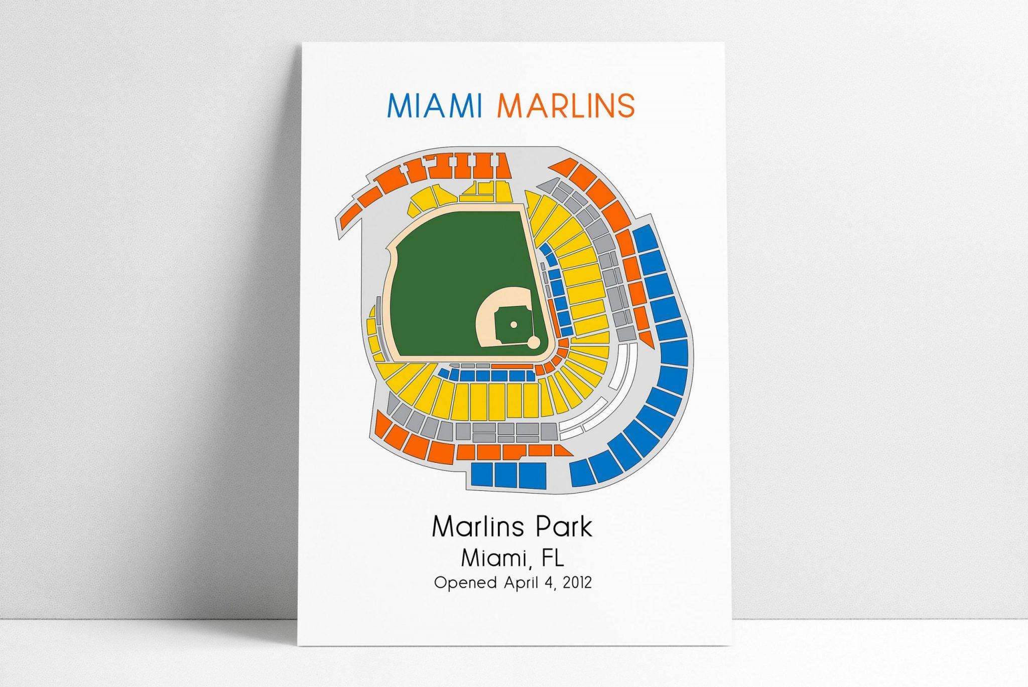 miami marlins baseball map, mlb stadium map, ballpark map